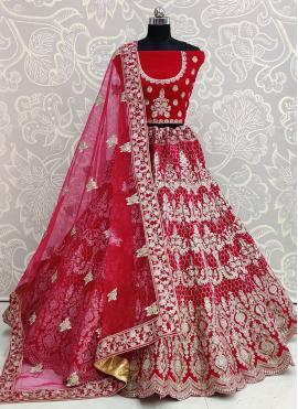 Velvet Designer Lehenga Choli in Pink