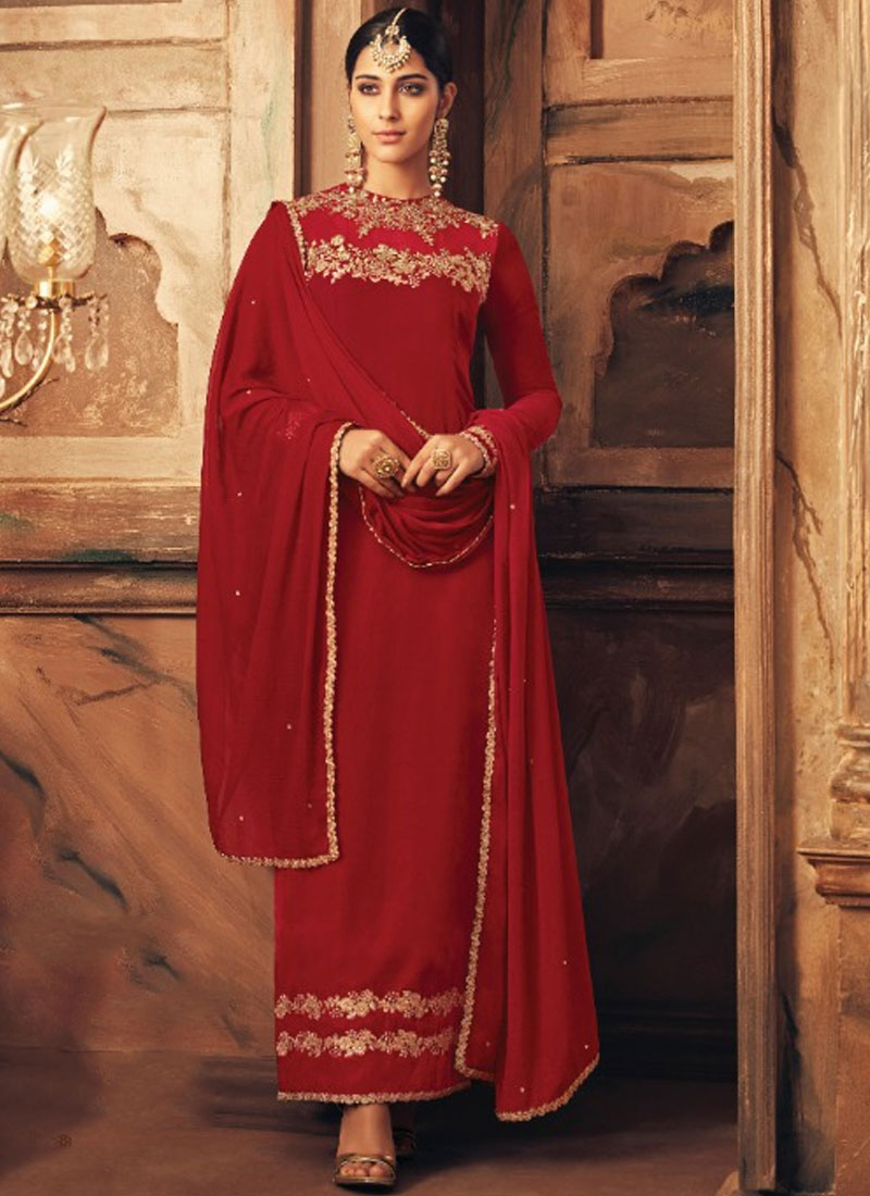 Velvet Embroidered Designer Suit in Red