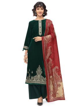 Velvet Embroidered Green Trendy Salwar Suit