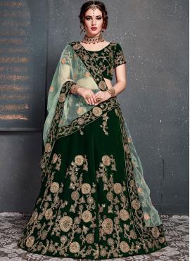 Velvet Green Zari Designer Lehenga Choli