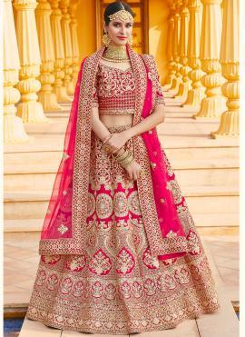 Velvet Resham Pink Bollywood Lehenga Choli