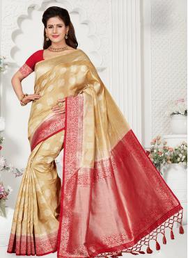 Versatile Art Silk Peach Designer Traditional Saree