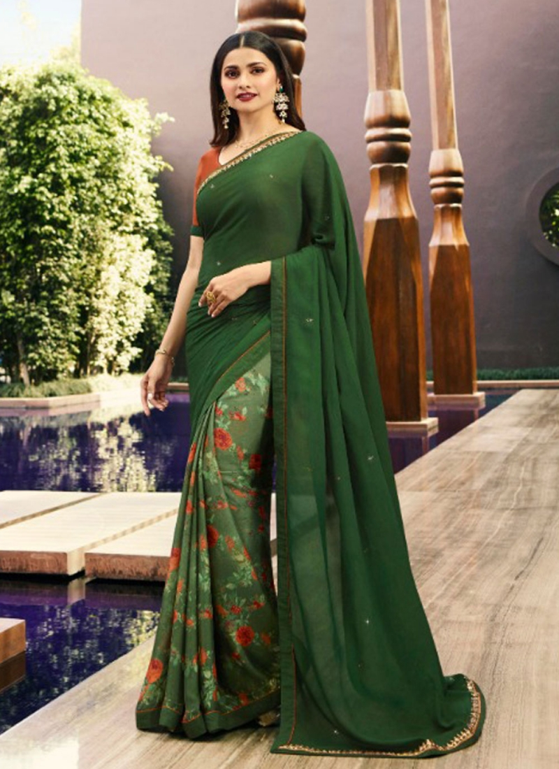 Versatile Printed Sea Green Bollywood Saree