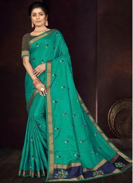 Versatile Rama Embroidered Vichitra Silk Traditional Saree