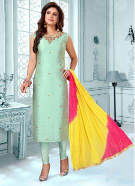 Vibrant Art Silk Embroidered Trendy Churidar Salwar Kameez