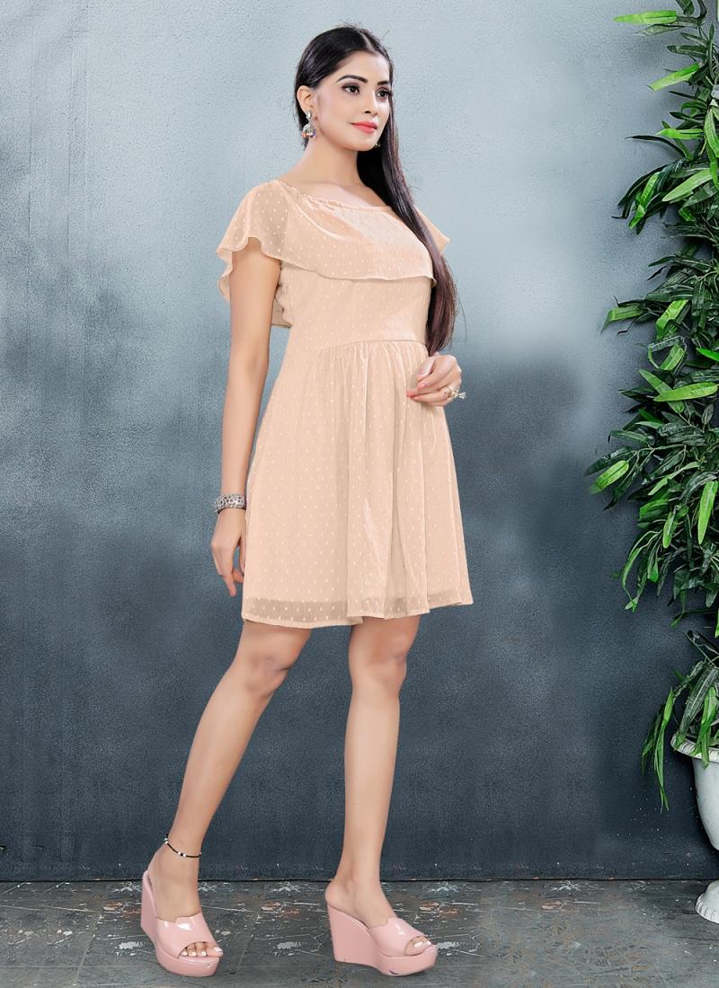 Vibrant Fancy Fabric Cream Plain Designer Kurti
