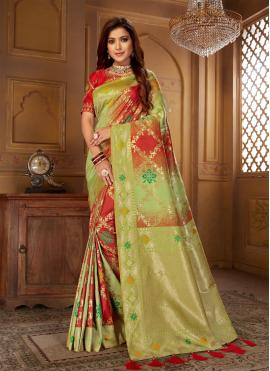 Vibrant Green and Red Festival Bollywood Saree