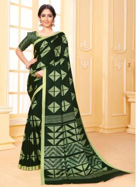 Vibrant Green Art Silk Printed Saree