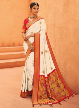 Vibrant Off White and Red Weaving Designer Traditional Saree