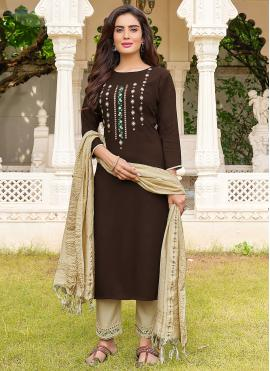 Vibrant Resham Rayon Black Salwar Suit