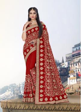 Vichitra Silk Red Zari Trendy Saree