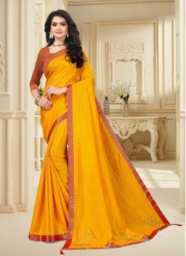 Vichitra Silk Traditional Saree in Yellow