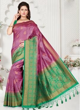 Violet Zari Designer Traditional Saree