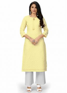 Viscose Designer Kurti in Yellow