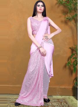 Vivacious Lycra Sequins Designer Saree