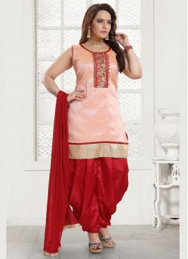Vivacious Malbari Silk  Resham Peach Salwar Kameez