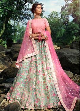 Vivacious Net Green Thread Trendy Lehenga Choli