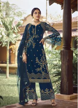 Vivid Embroidered Blue Faux Georgette Palazzo Designer Salwar Suit