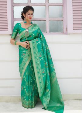Vivid Green Silk Silk Saree