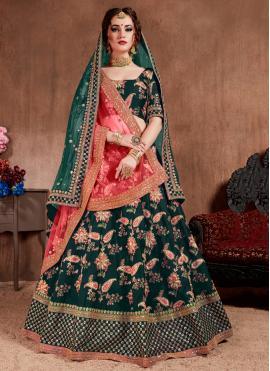 Vivid Thread Green Silk Lehenga Choli