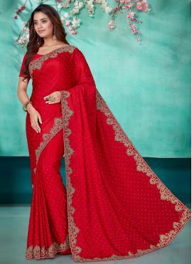Voguish Embroidered Red Satin Designer Saree