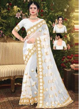 Voguish Net Off White Classic Designer Saree
