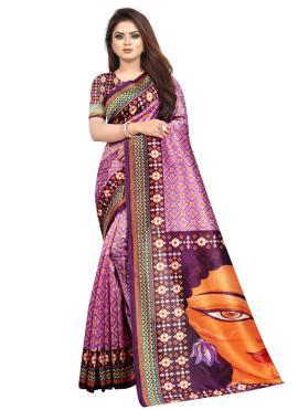 Voguish Raw Silk Purple Abstract Print Printed Saree