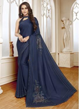 Voguish Satin Navy Blue Classic Designer Saree