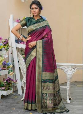 Voguish Tussar Silk Traditional Designer Saree