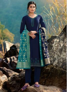 Voluptuous Blue Festival Designer Palazzo Suit