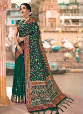 Voluptuous Digital Print Green Banarasi Silk Designer Saree