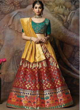 Voluptuous Embroidered Red Silk Designer Lehenga Choli