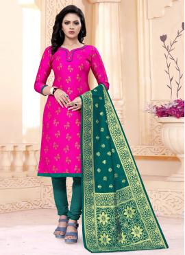 Weaving Banarasi Silk Churidar Designer Suit in Rani