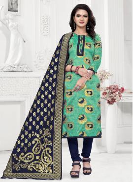 Weaving Banarasi Silk Churidar Salwar Suit in Sea Green