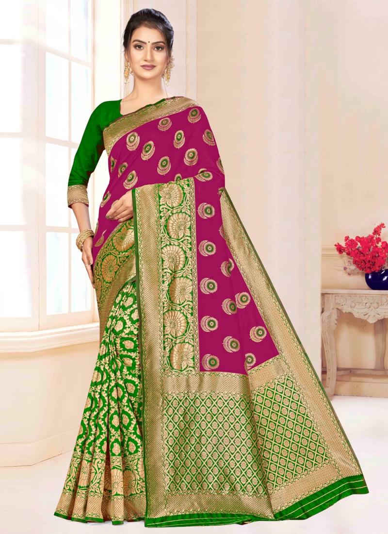 Weaving Banarasi Silk Designer Saree in Green and Magenta