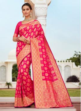 Weaving Banarasi Silk Designer Traditional Saree in Fuchsia