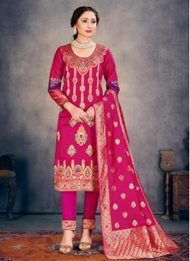 Weaving Banarasi Silk Pant Style Suit in Hot Pink