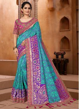 Weaving Fancy Fabric Classic Saree in Blue