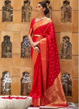 Weaving Kanjivaram Silk Traditional Designer Saree in Red