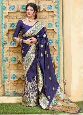 Weaving Silk Bollywood Saree in Navy Blue