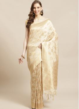 Weaving Silk Designer Traditional Saree in Beige