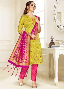 Weaving Silk Trendy Salwar Suit in Green