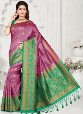 Weaving Silk Trendy Saree in Purple