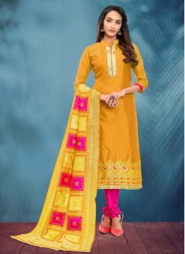 Whimsical Banarasi Silk Yellow Fancy Churidar Salwar Suit