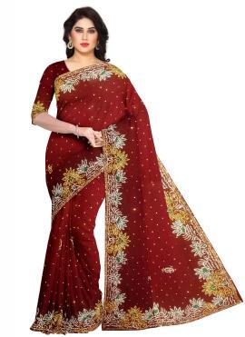 Whimsical Fancy Fabric Maroon Fancy Designer Saree