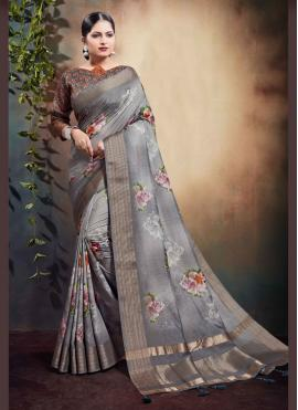 Whimsical Grey Designer Saree