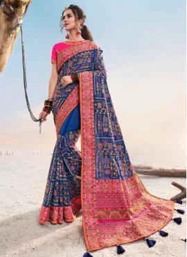Whimsical Silk Blue Embroidered Designer Saree