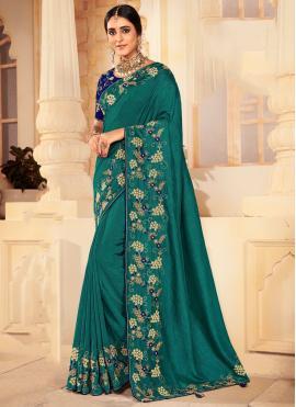 Whimsical Silk Green Designer Traditional Saree