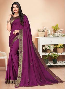 Whimsical Silk Lace Purple Classic Saree