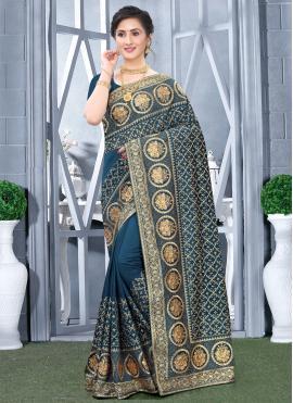 Whimsical Teal Designer Traditional Saree